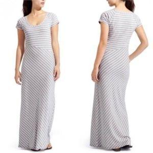 Athleta Makai Gray & White Striped Maxi Dress